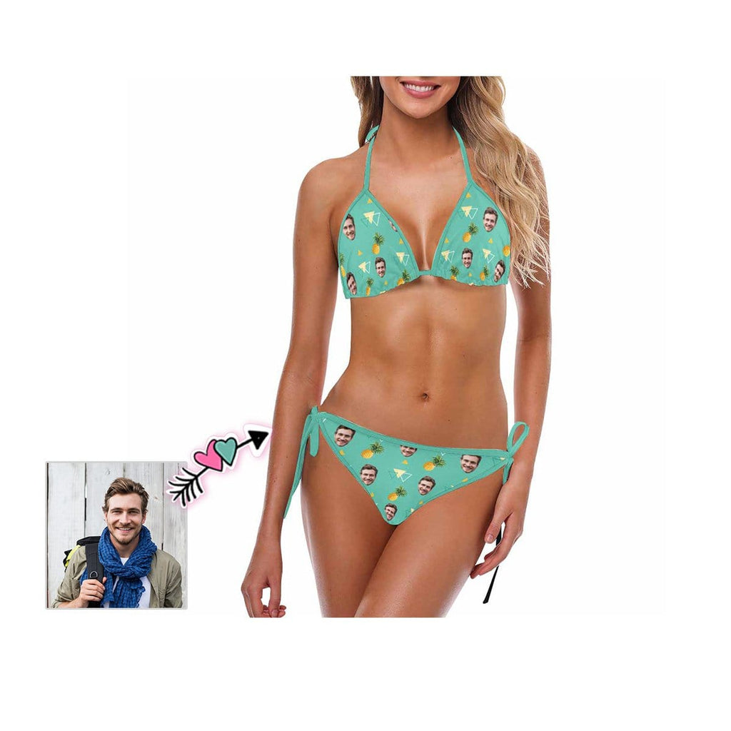 Custom Face Pineapple Geometric Bikini Swimsuit