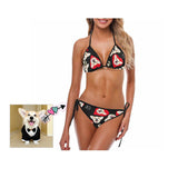 Custom Dog Love Red Heart Bikini Swimsuit