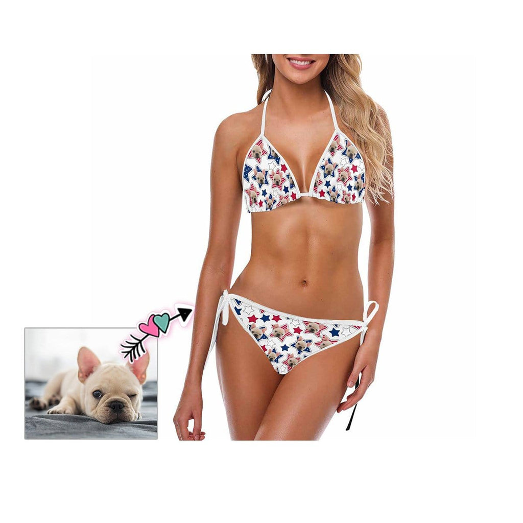 Custom Dog Face Star Stripe Bikini Swimsuit