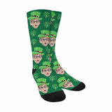 Custom Face St. Patrick Shamrock Sublimated Crew Socks
