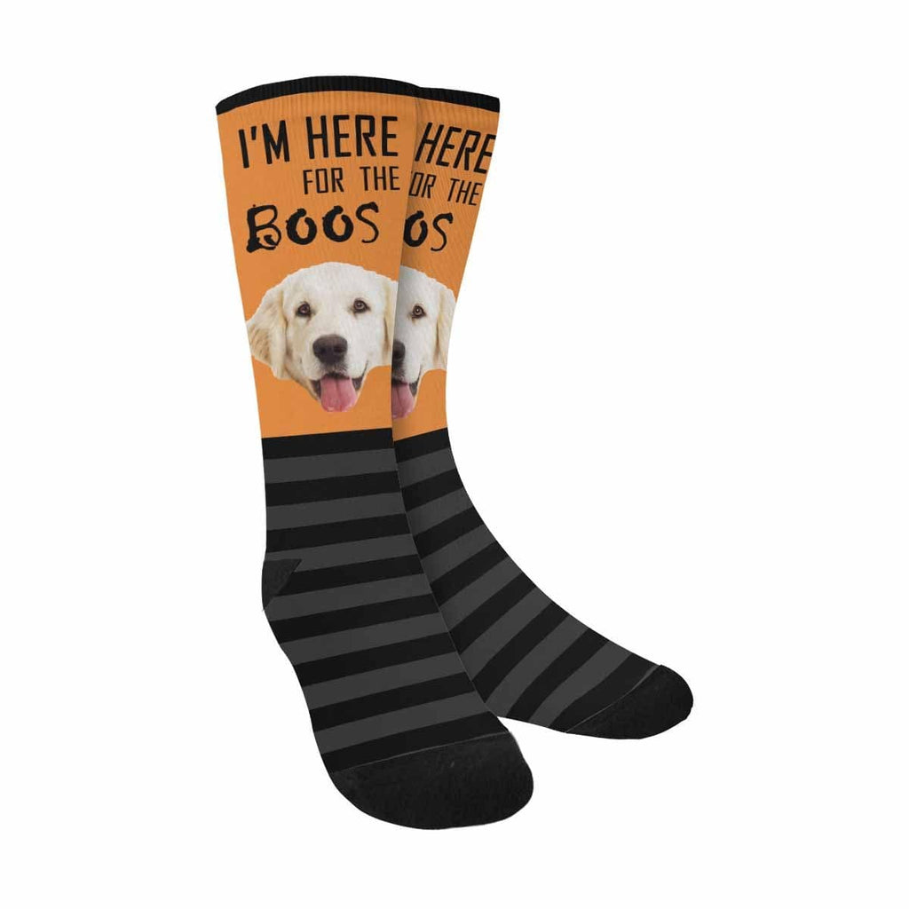 Custom Face I'm Here Dog Sublimated Crew Socks