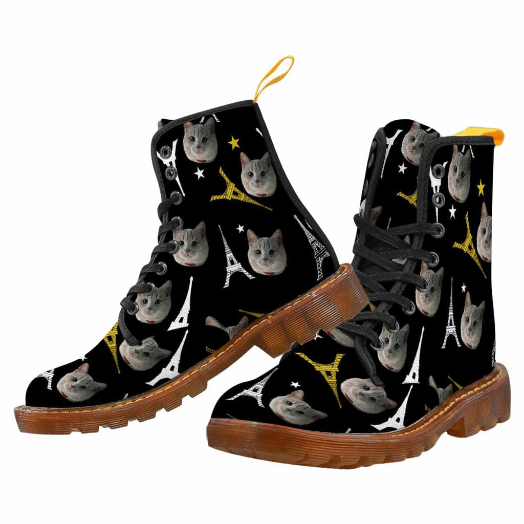 Custom Cat Face Tower Stars Canvas Women's Boots