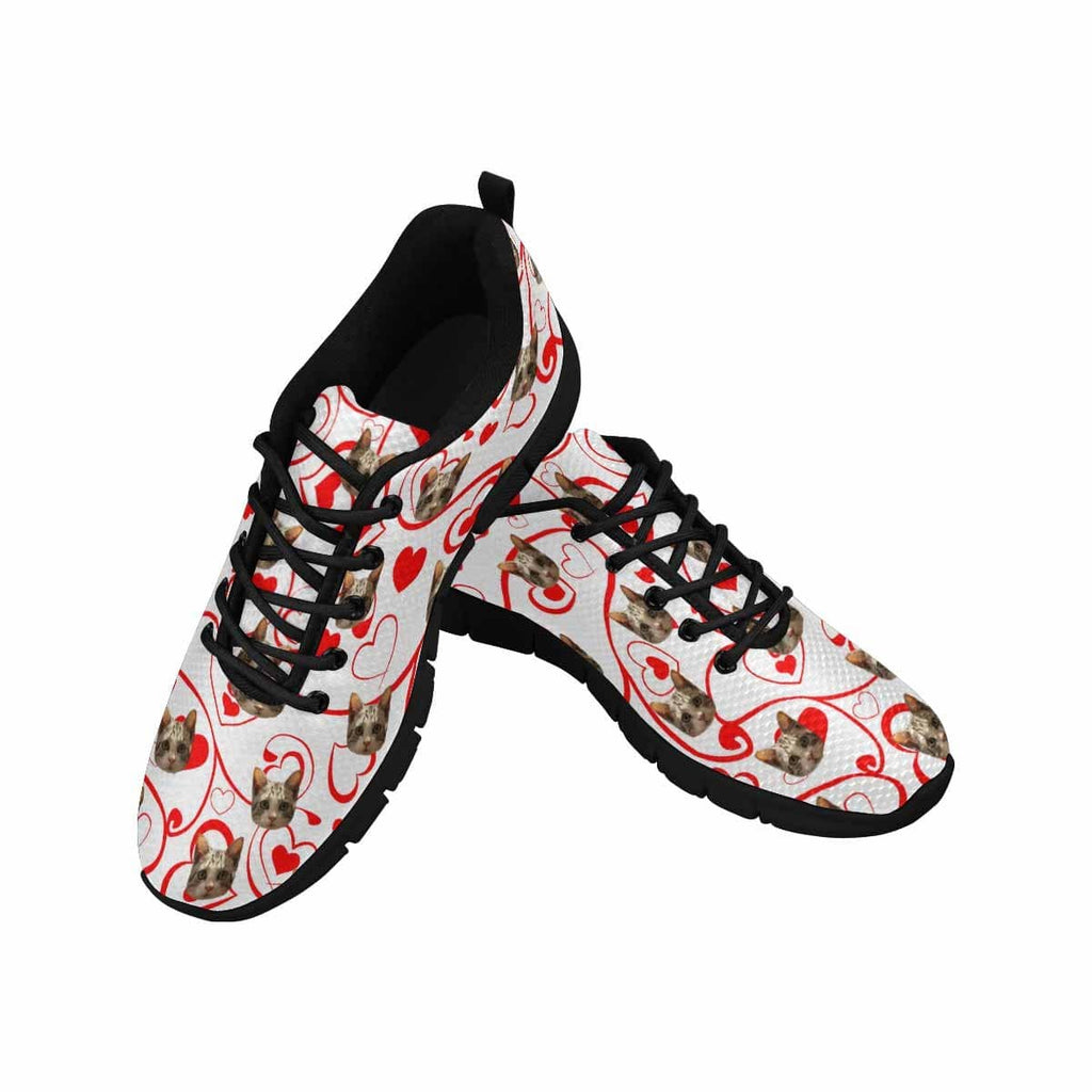 Custom Cat Pink Heart Men's Running Shoes