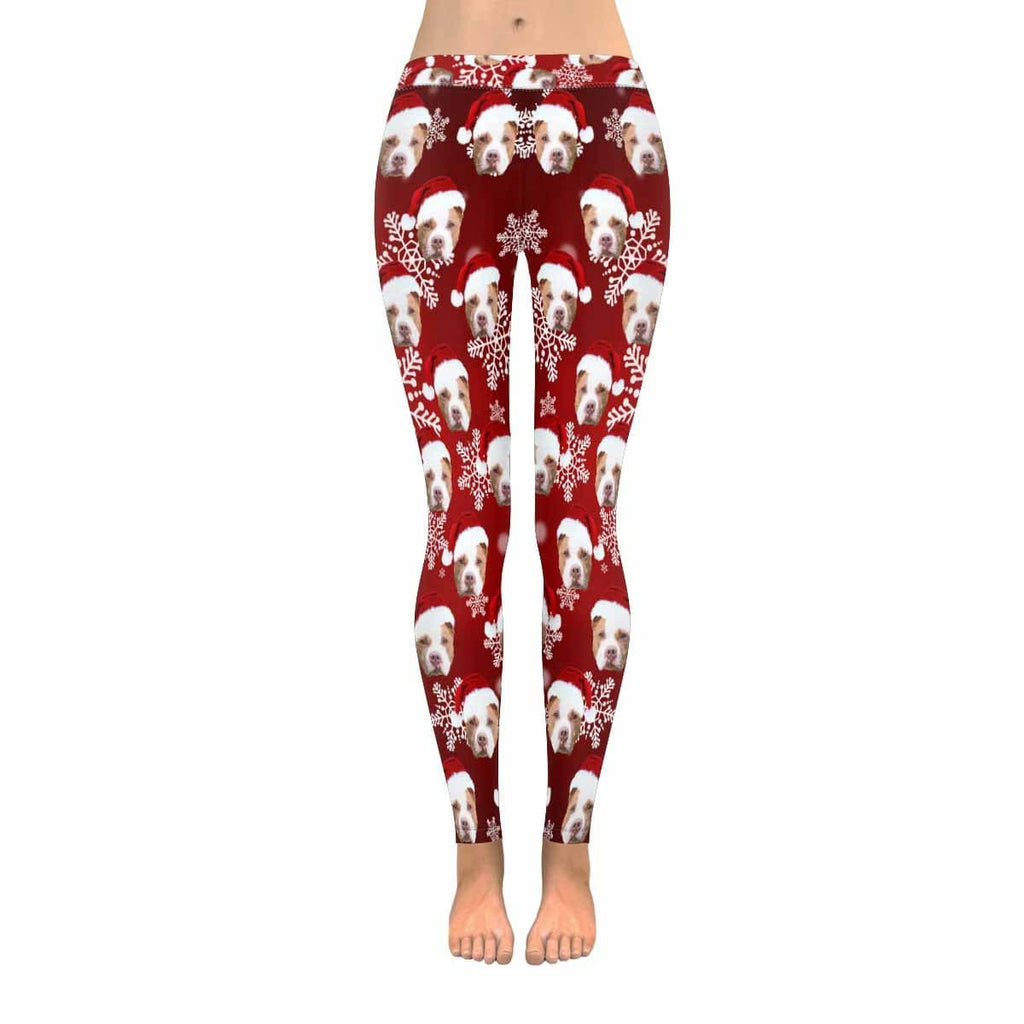 Custom Pit Bull Dog Christmas Snowflake Low Rise Leggings