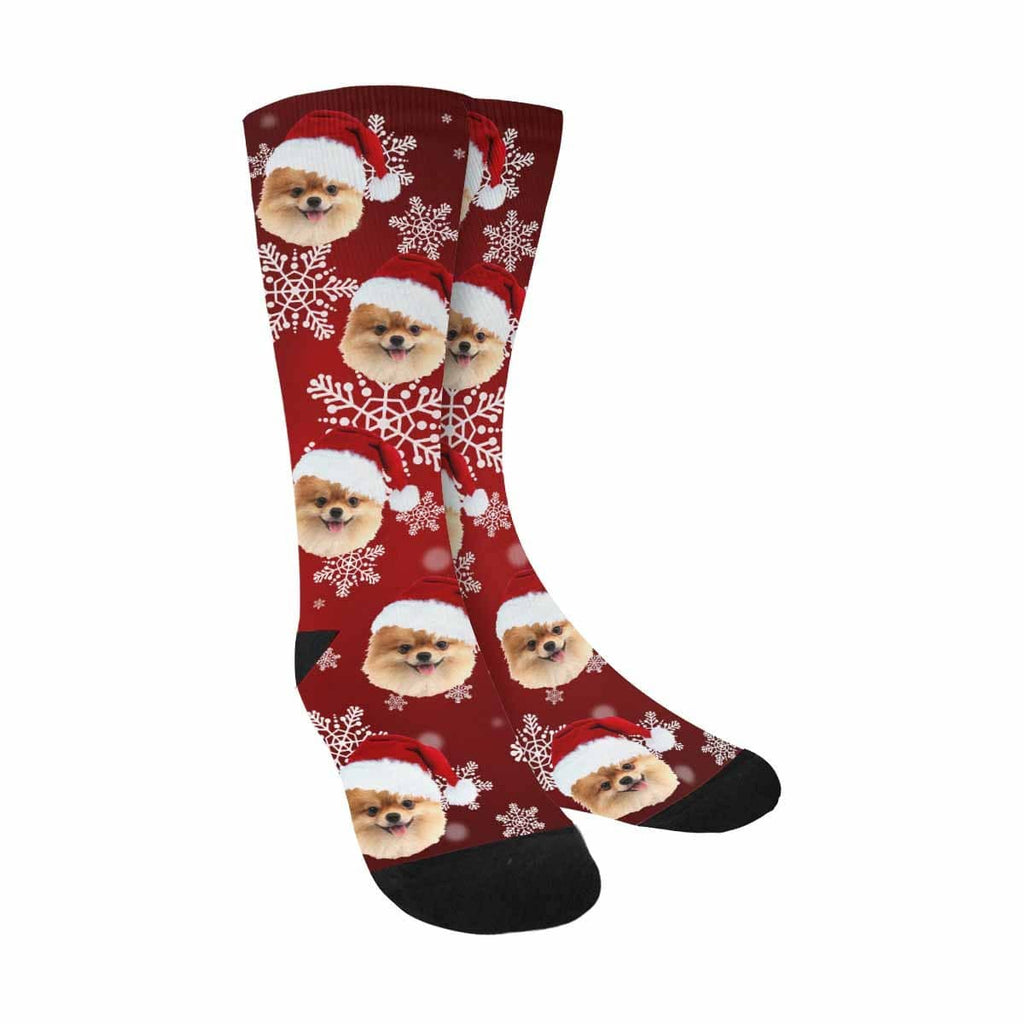 Custom Dog Christmas Snowflake Sublimated Crew Socks