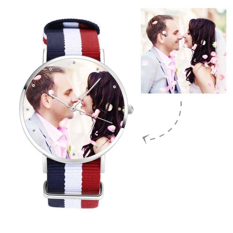 Couple Custom Photo Nylon Strap Watch