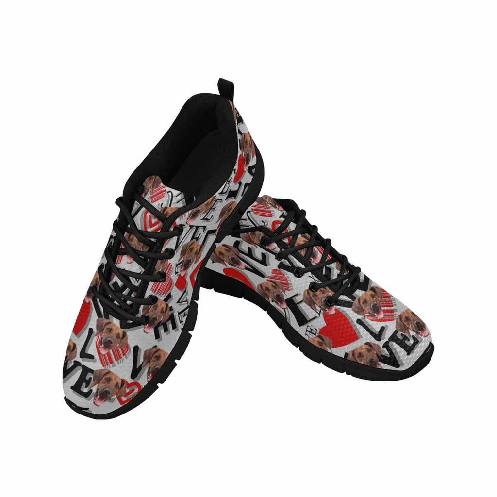Custom Dog Face Love Red Heart Women's Running Shoes
