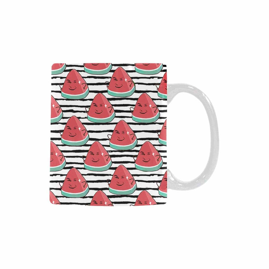 Custom Watermelon Face Stripe Classical White Mug