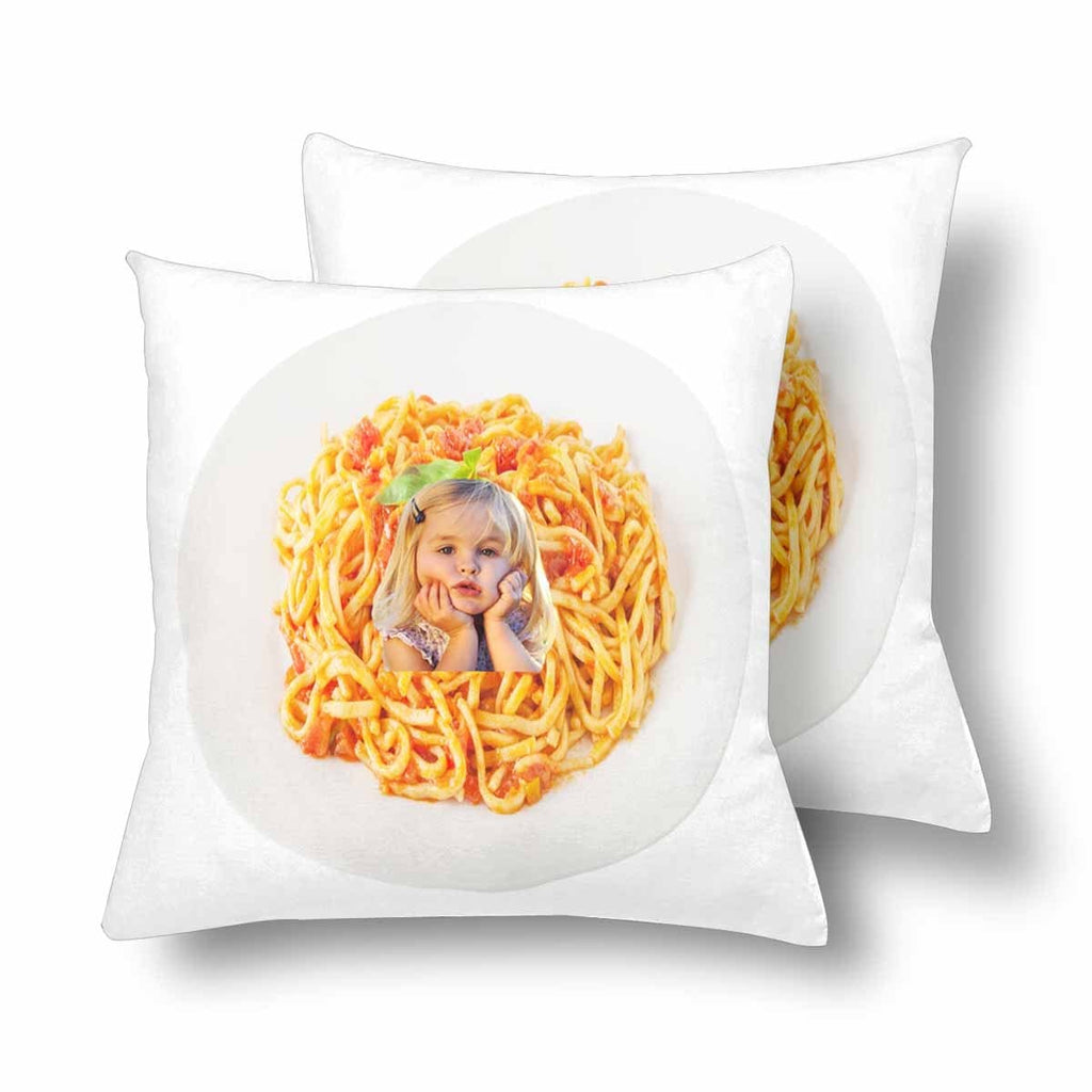 "Custom Face Photo Pasta Throw Pillow Cover 18""x 18"""