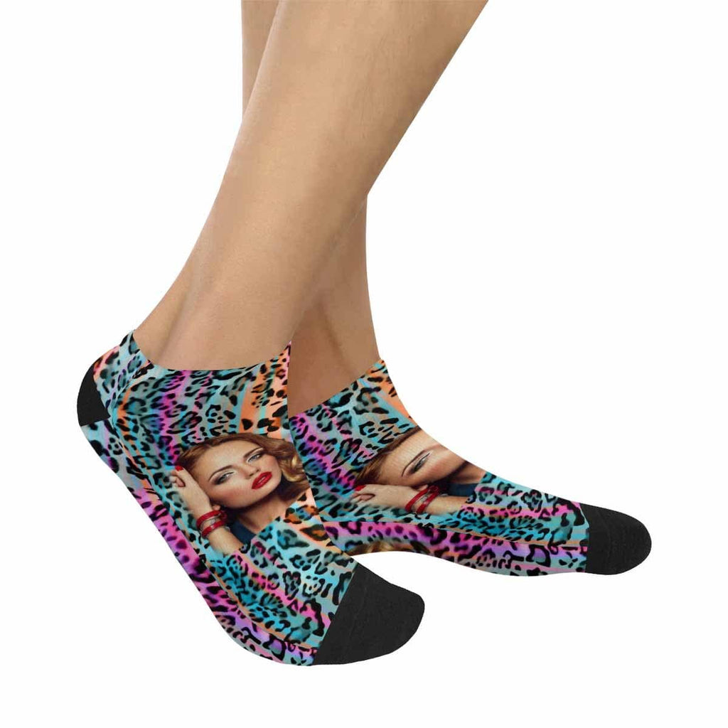Custom Face Colorful Leopard Print Women's Ankle Socks