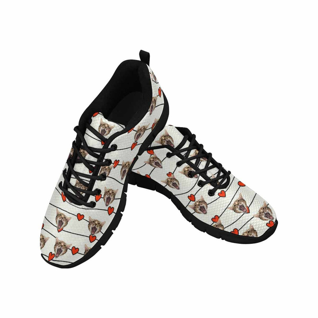Custom Cat Red Heart Men's Running Shoes