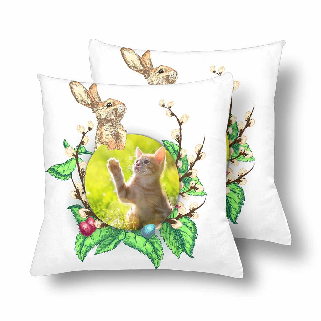 Custom Cat Photo Easter Bunny Throw Pillow Cover