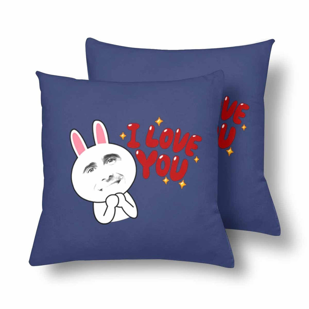 Custom Man Face Rabbit Throw Pillow Cover