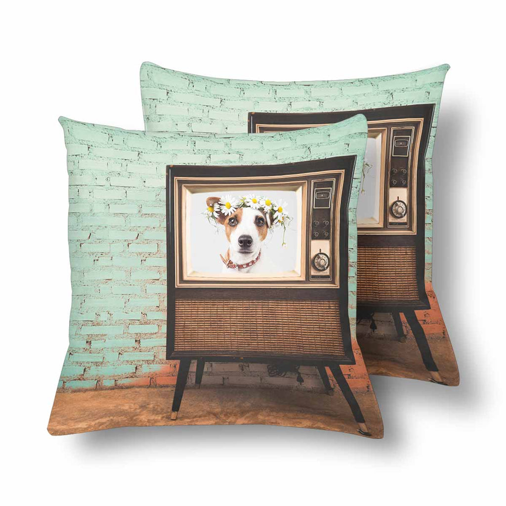 Custom Dog Vintage TV Throw Pillow Cover