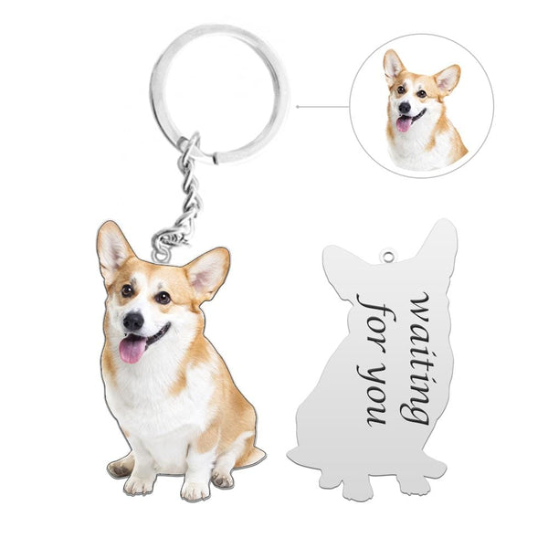 Custom Dog Photo Silver Keychain