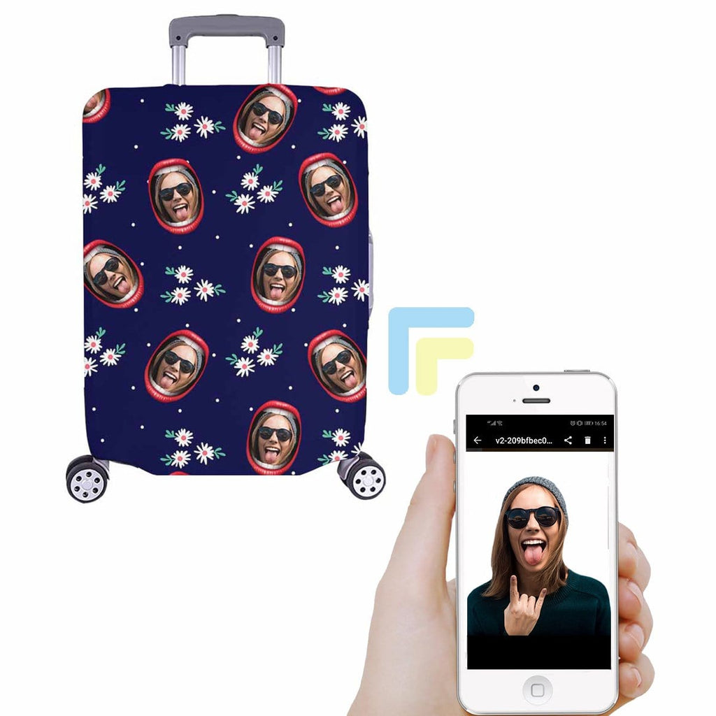 Custom Face Floral Lip Luggage Cover