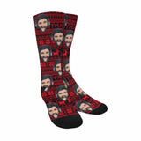 Custom Face Christmas Pattern Sublimated Crew Socks