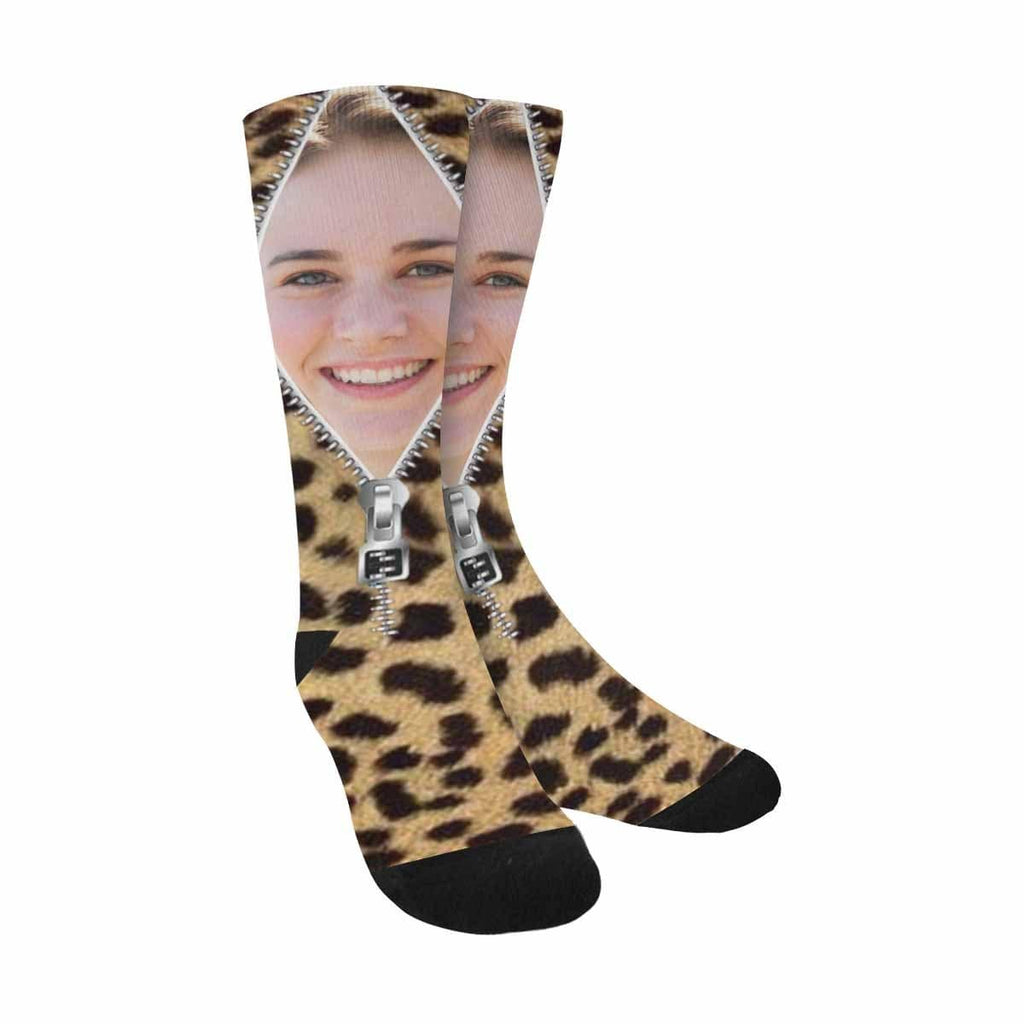 Custom Face Zipper Classic Camo Sublimated Crew Socks