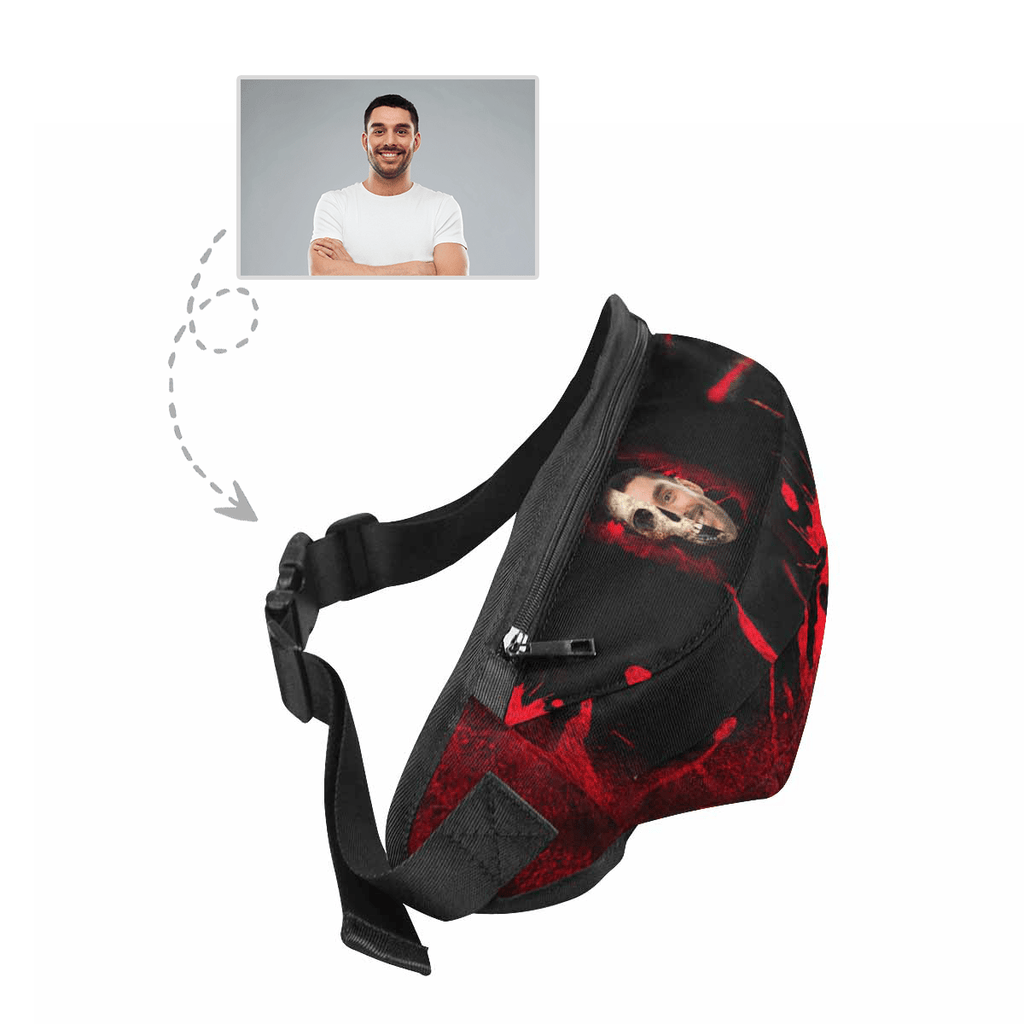 Custom Face Red Skull Waist Bag