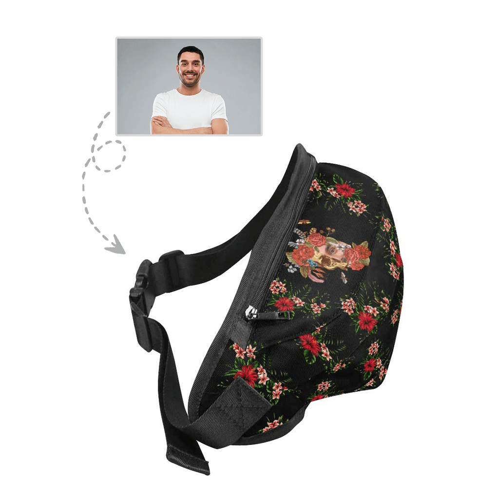 Custom Face Flower Skull Waist Bag