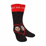 Custom Face&Text Love Huge Heart Sublimated Crew Socks