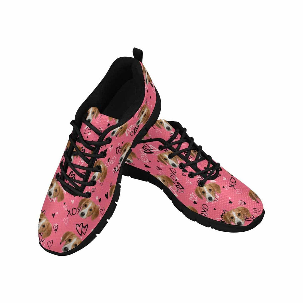 Custom Dog Face XOXO Heart Pink Women's Running Shoes
