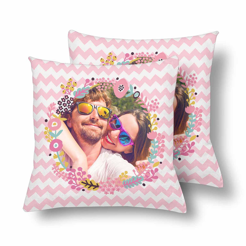 Custom Couple Pink Chevron Throw Pillow Cover
