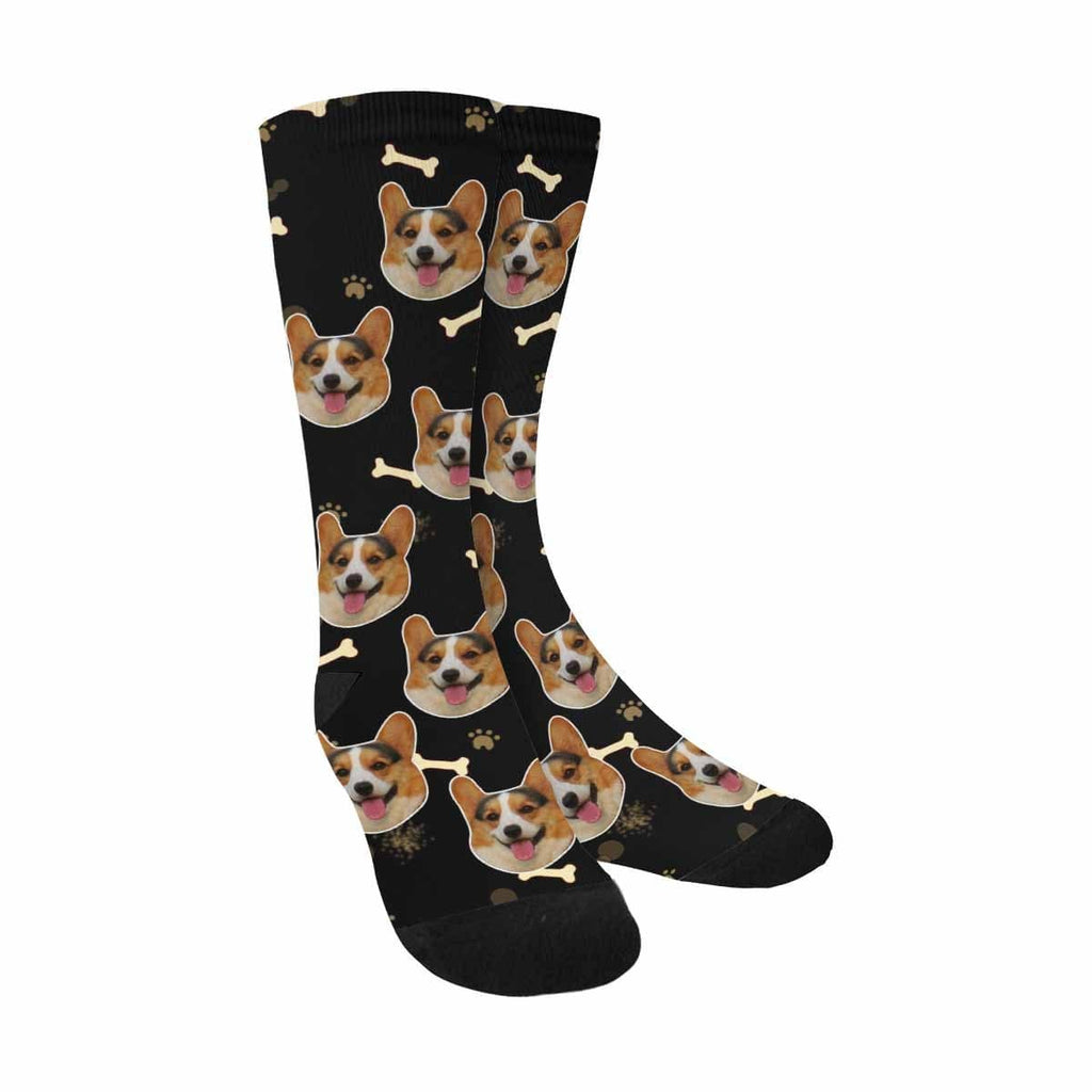 Custom Face Dog Bone Sublimated Crew Socks