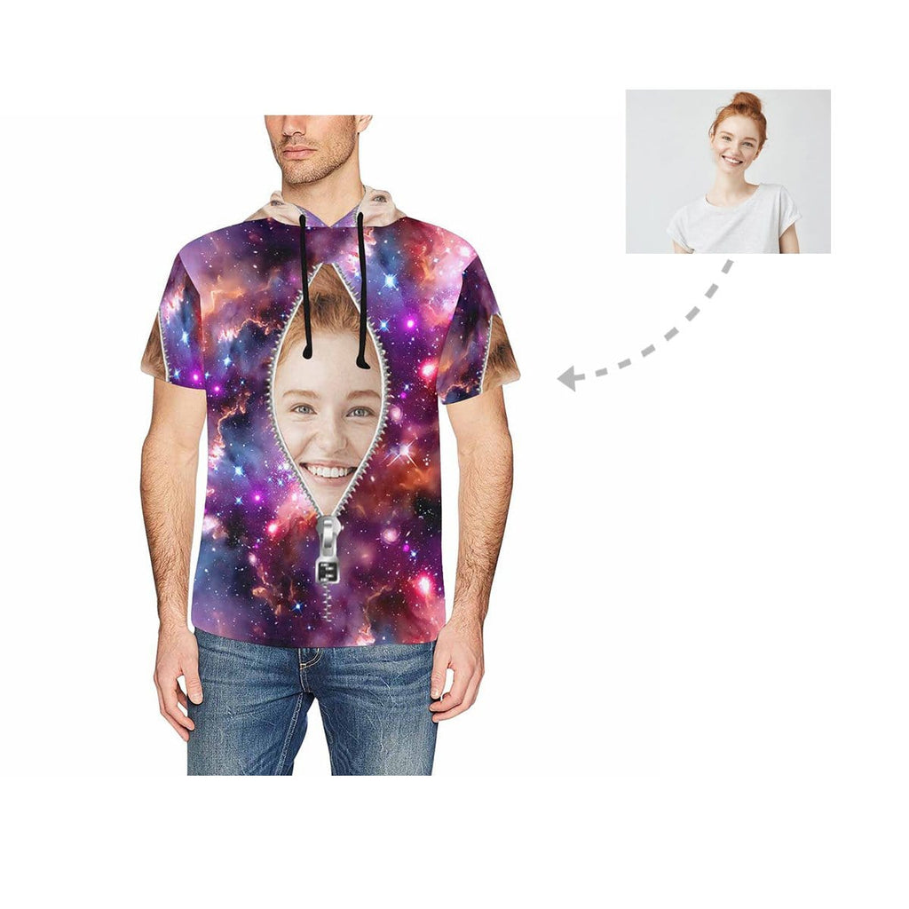 Custom Face Zipper Galaxy Men's Short Sleeve Hoodie
