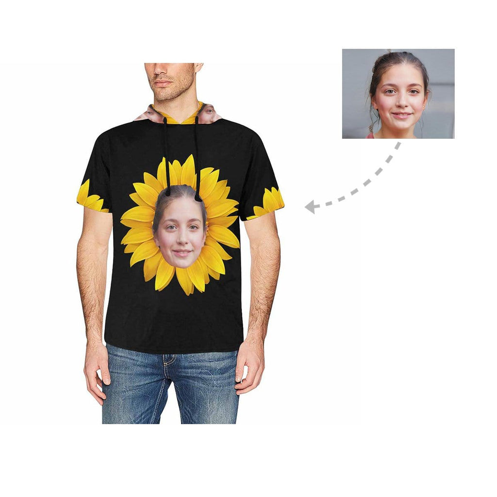 Custom Girlfriend Face Sunflower Men's Short Sleeve Hoodie