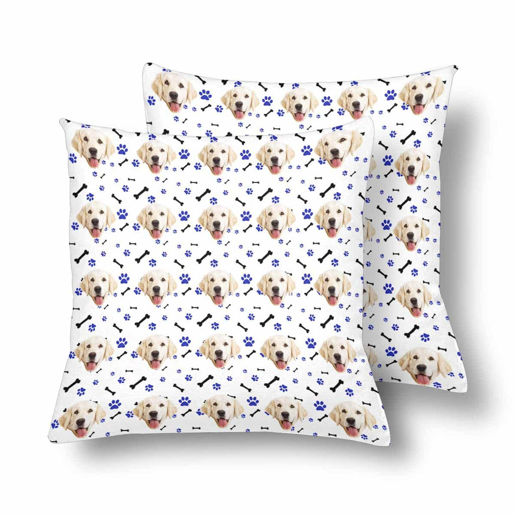 Custom Dog Face Paw and Bone Throw Pillow Cover