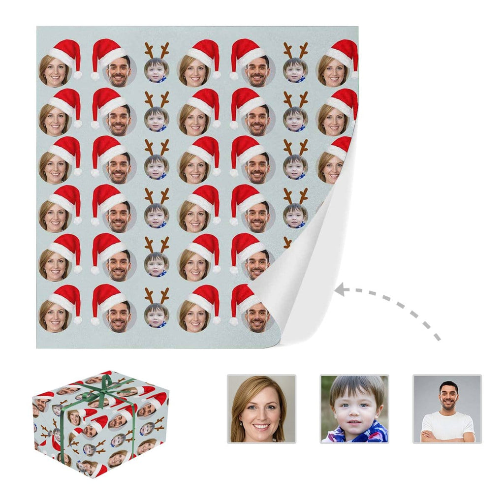 Custom Face Fawn Christmas Hat Gift Wrapping Paper