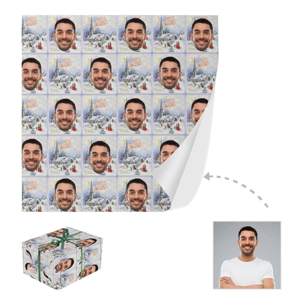 Custom Face Christmas Gift Wrapping Paper