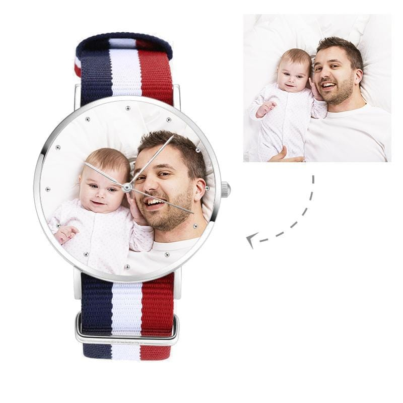 Unisex Custom Father's Photo Watch, Nylon Strap