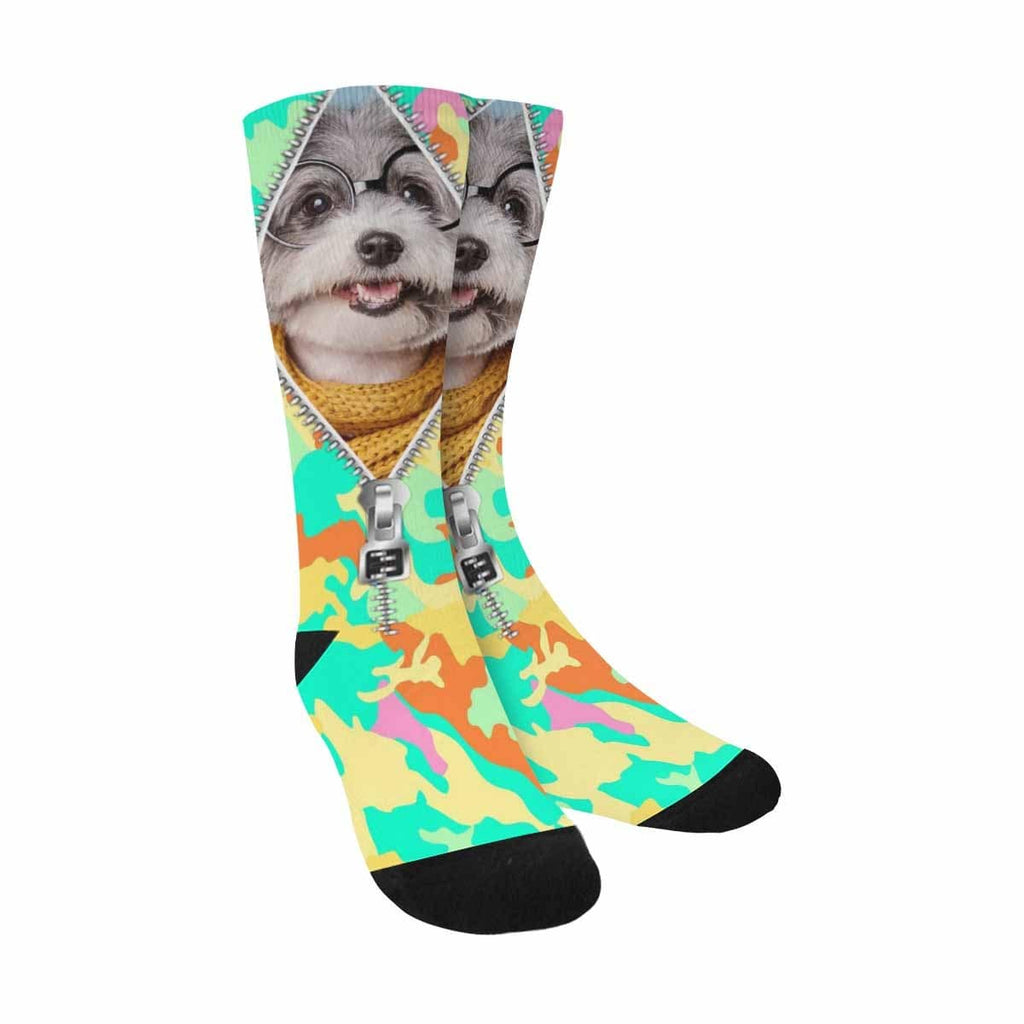 Custom Dog Face Zipper Camo Sublimated Crew Socks