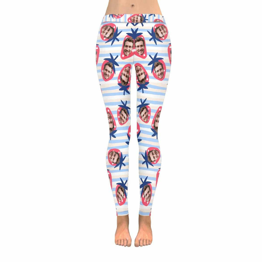 Custom Face Strawberry Low Rise Leggings
