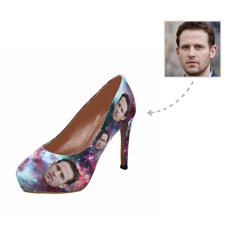 Custom Husband Face Galaxy Women's High Heels