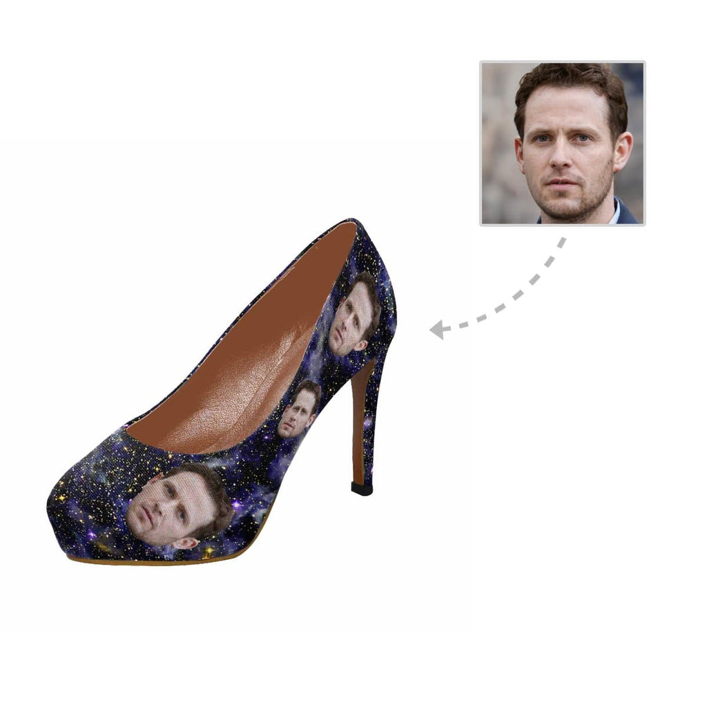 Custom Boyfriend Face Universe Dark Blue Women's High Heels