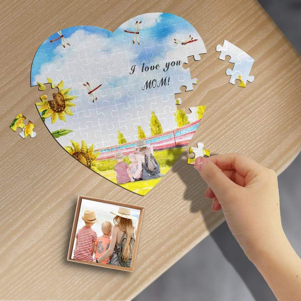 Custom Photo Love Mom Heart-Shaped Jigsaw Puzzle Best Indoor Gifts For Lover 75 Pieces