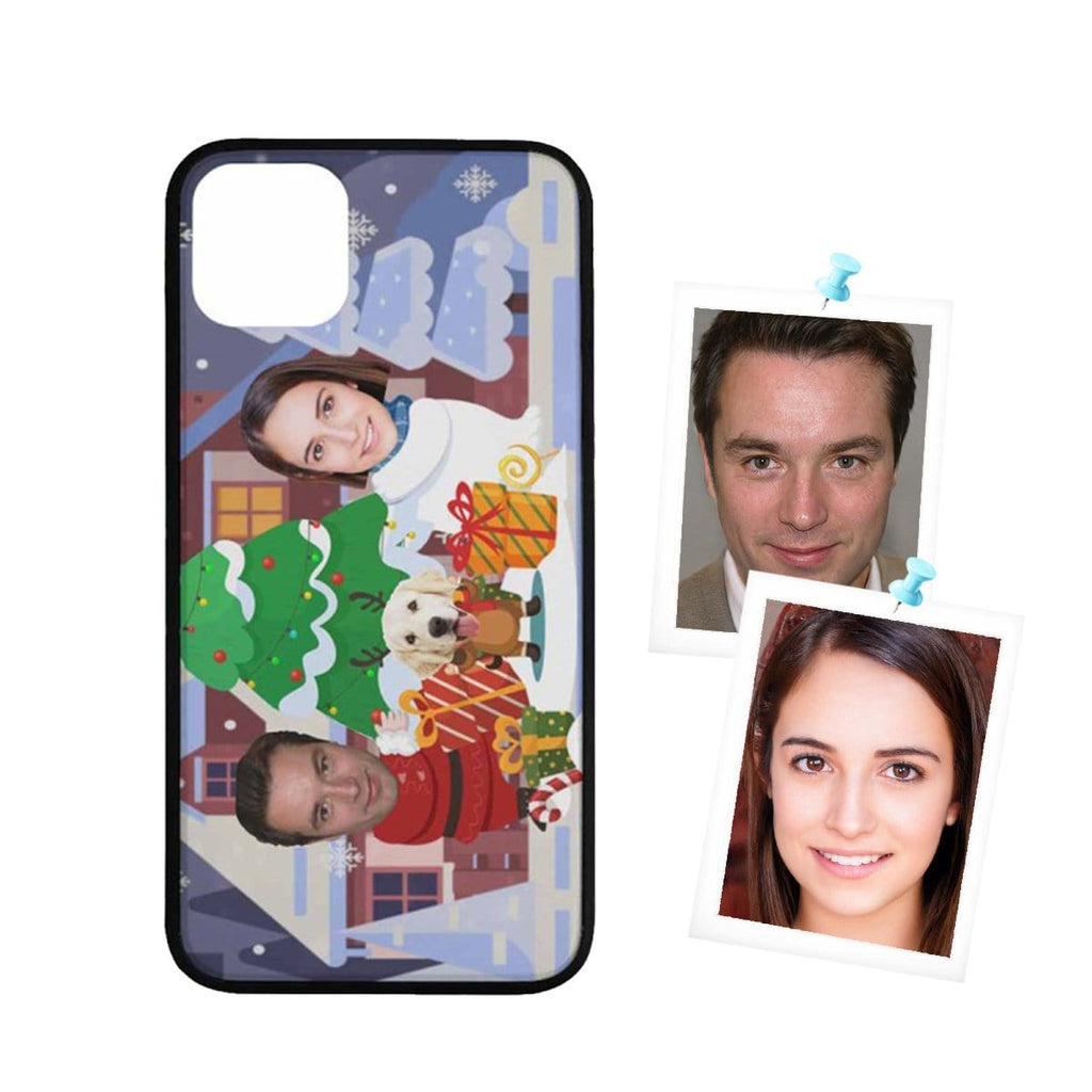 Custom Face Couple Christmas Rubber Case for Iphone