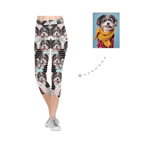 Custom Pet Face Digital Image All-Over Low Rise Capri