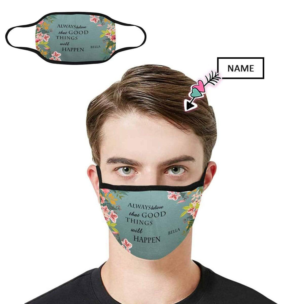 Custom Name Flowers Fabric Mouth Mask