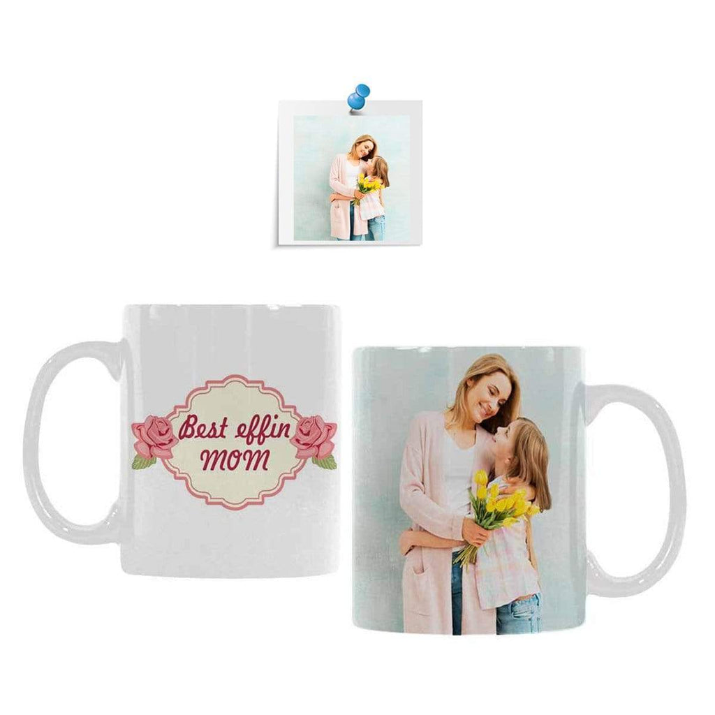 Custom Photo Best Mom Pink Flower Classical White Mug