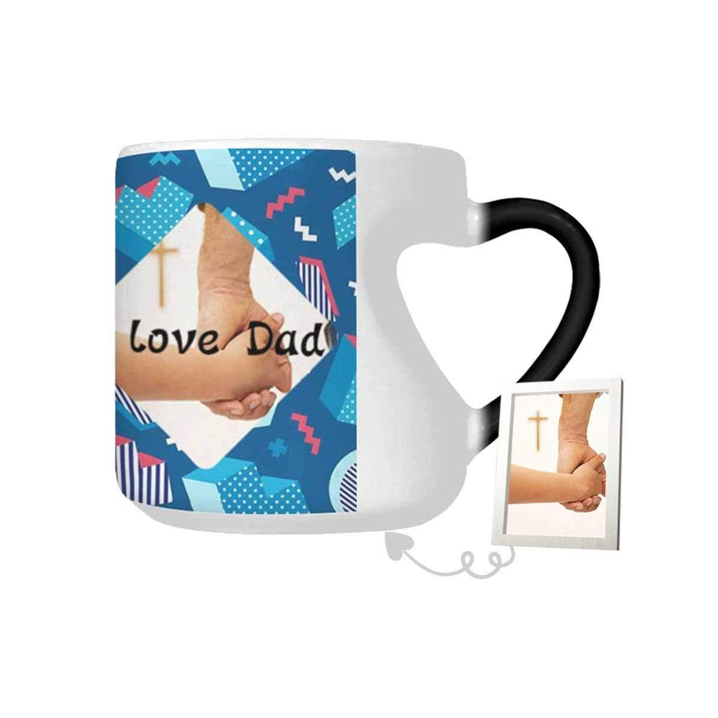 Custom Photo I Love Dad Heart-shaped Color Change Mug