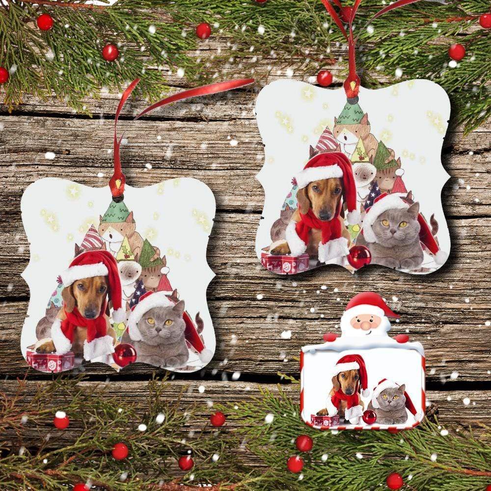 Custom Photo Pet Christmas Square Ornament