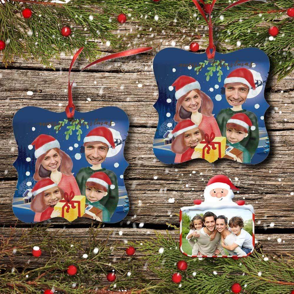 Custom Photo Family Christmas Square Ornament
