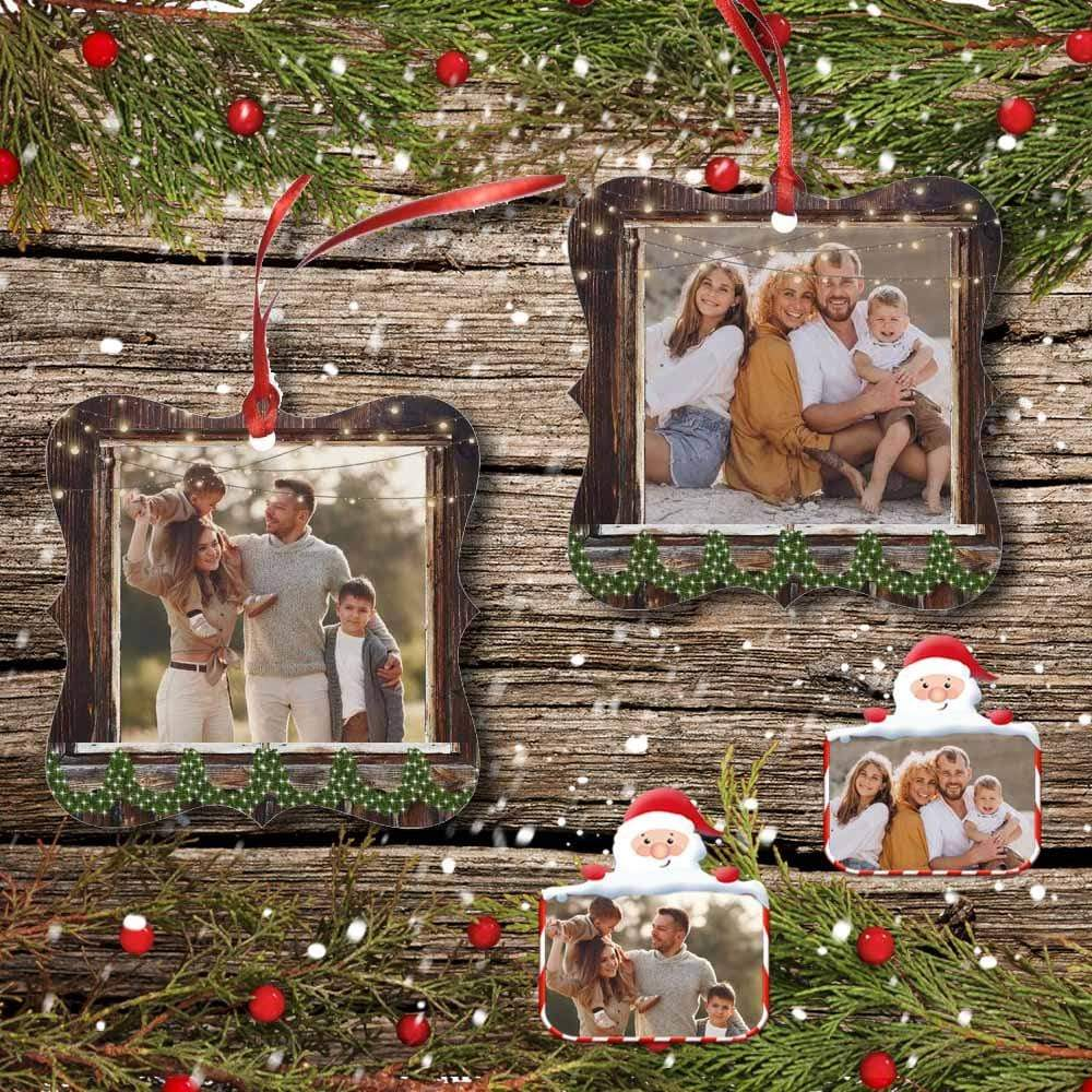 Custom Photo Family Love Square Ornament