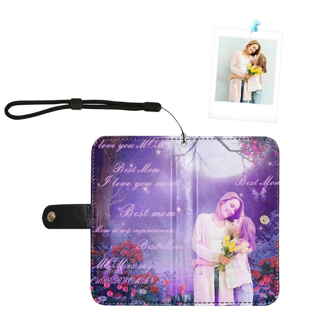 Custom Photo Best Mom Purple Flip Leather Purse for Mobile Phone