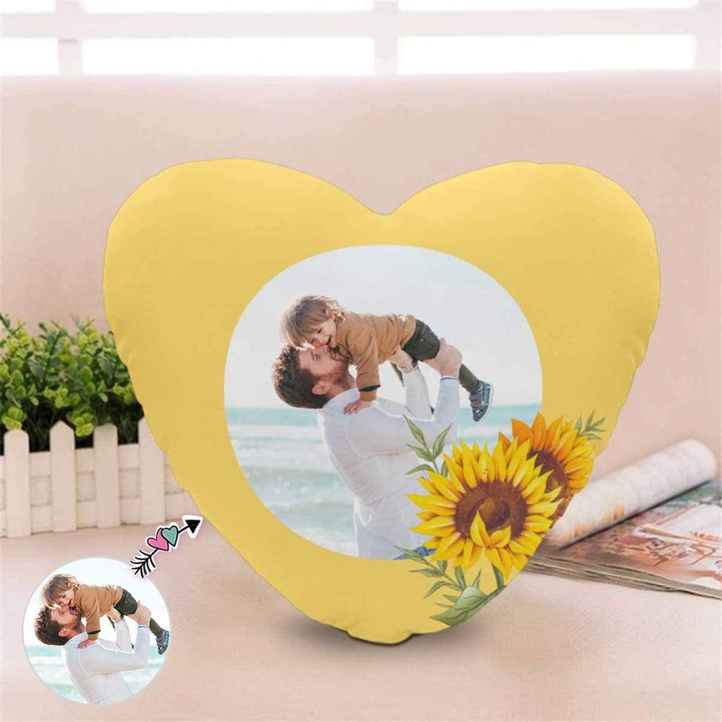 Custom Photo Dad Son Sunflower Heart-Shaped Pillow