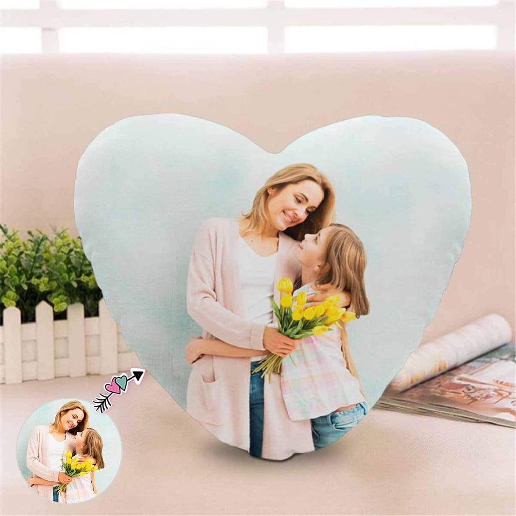 Custom Photo Mom Daughter Heart-Shaped Pillow